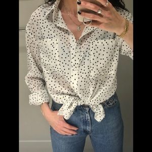 SOFT non-see thru worn once polka-dot blouse